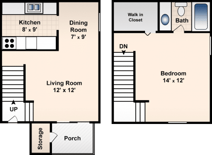 1 Bed / 1 Bath / 722 sq ft / Deposit: $300 / Rent: $635