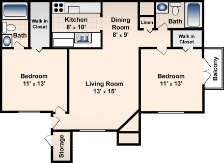 2 Bed / 2 Bath / 917 sq ft / Deposit: $300 / Rent: $780